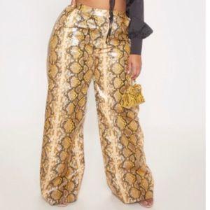 Plus Brown Faux Leather Snake Print Wide Leg Pants